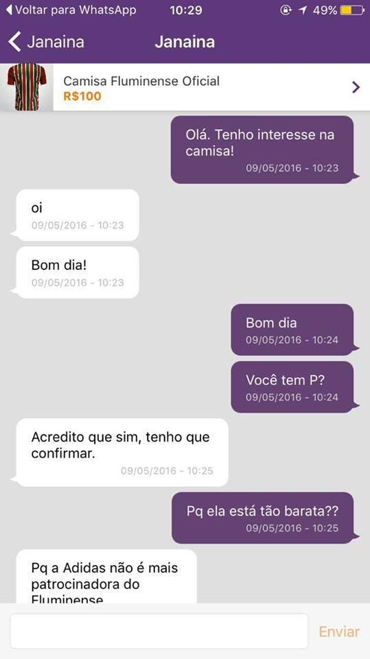 Conversa através do OLX, um dos maiores portais de anúncios do Brasil (Foto: Reprodução Internet)