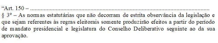O polêmico artigo 150, parágrafo terceiro, adicionado ao estatuto tricolor, na última Assembleia Geral (Foto: Reprodução Fluminense F.C)