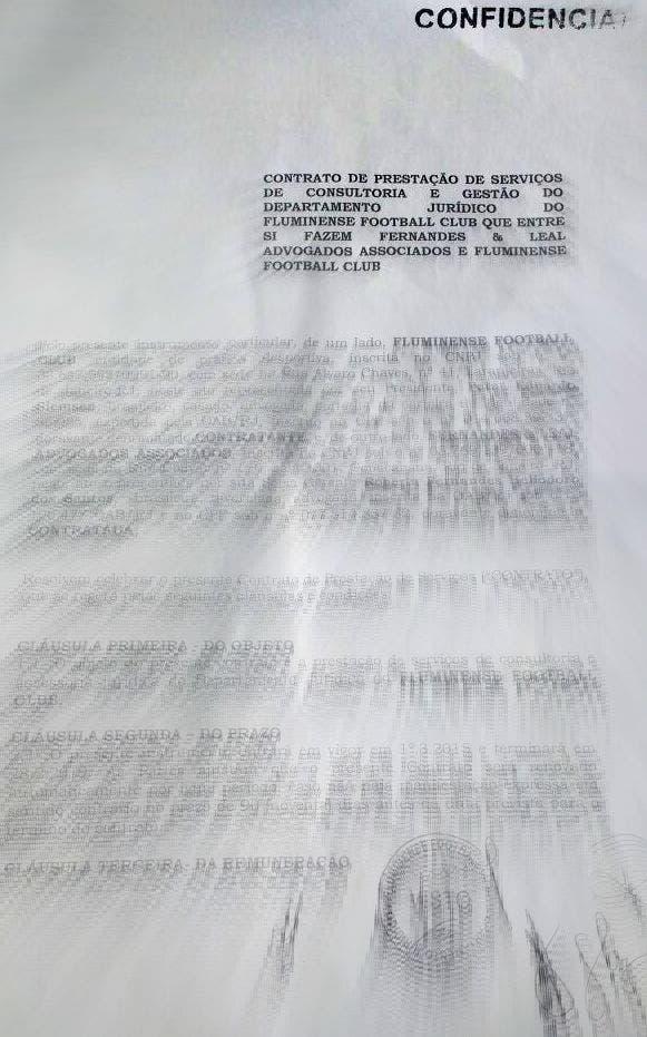 Contrato de prestação de serviços de consultoria e gestão do departamento jurídico do Flu, com o carimbo de confidencial