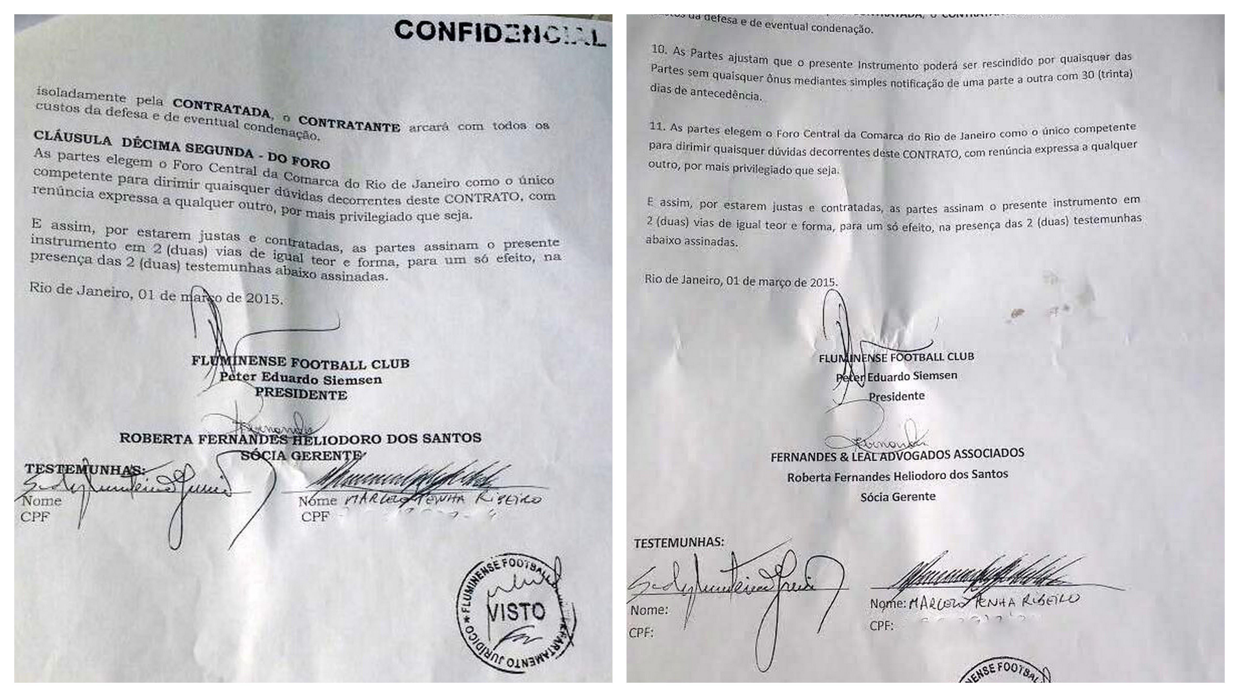 Contrato de prestação de serviços de gerente jurídica (à esquerda) assinado por Peter Siemsen, Roberta Fernanda e outras duas testemunhas; à direita, o contrato de diretora geral, também assinado no mesmo dia pelas mesmas pessoas
