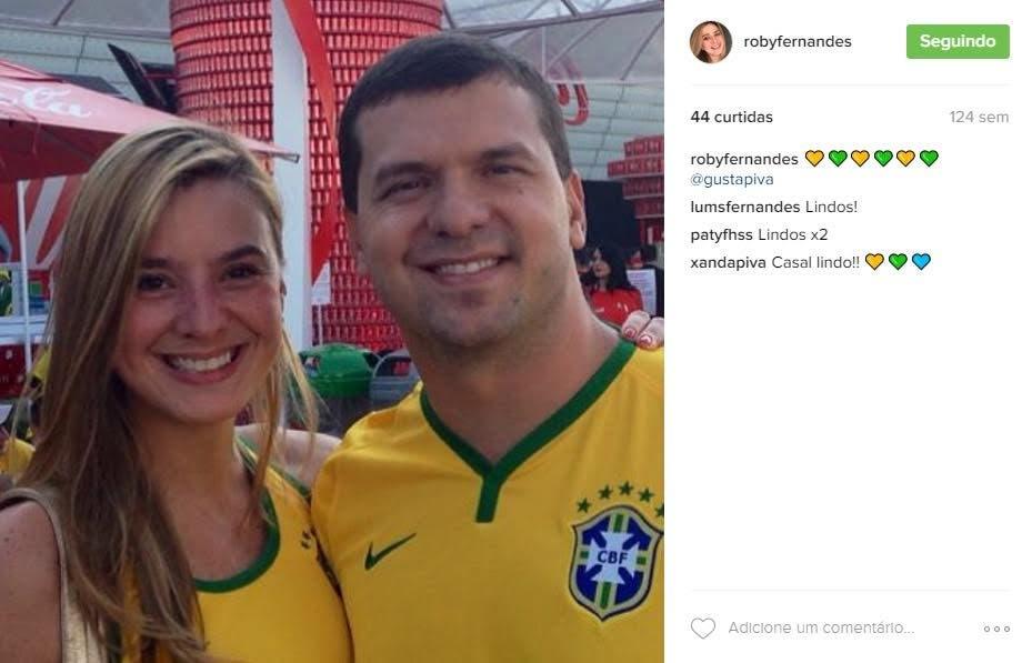 Roberta Fernandes e Gustavo Piva, sócio de Peter, já tinham um relacionamento, apesar de ainda não estarem casados, antes da renovação contratual até fevereiro de 2019 (Foto: Reprodução Instagram)