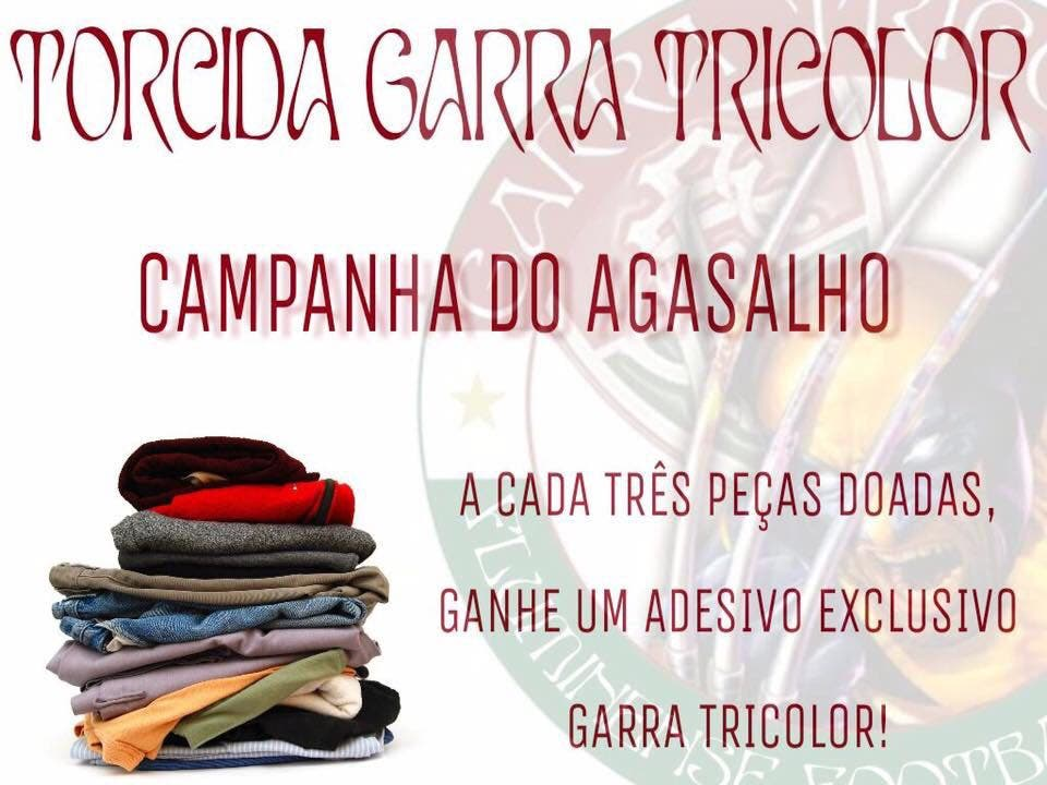 9207f396c5 Torcida do Fluminense faz campanha do agasalho