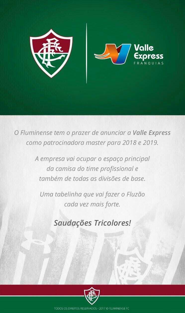 O Fluminense anunciou oficialmente a Valle Express como seu novo  patrocinador master. O acordo será de dois anos 6252830909c35